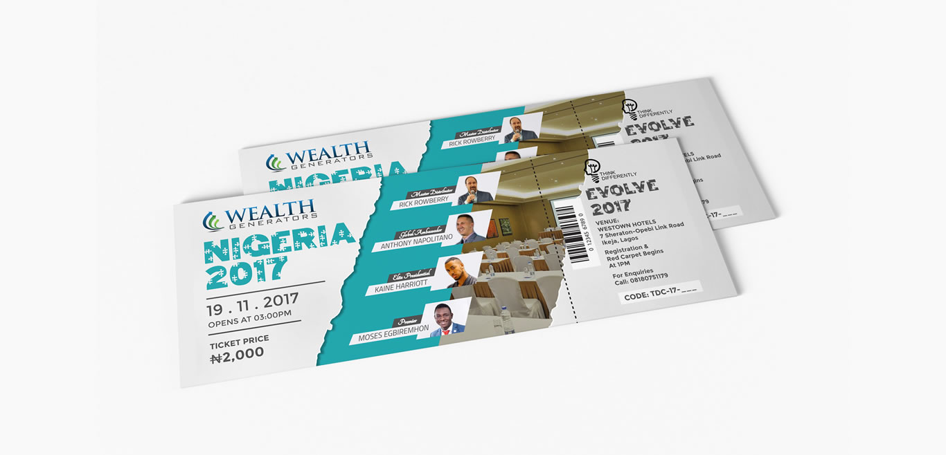 wg evolve event ticket print design two
