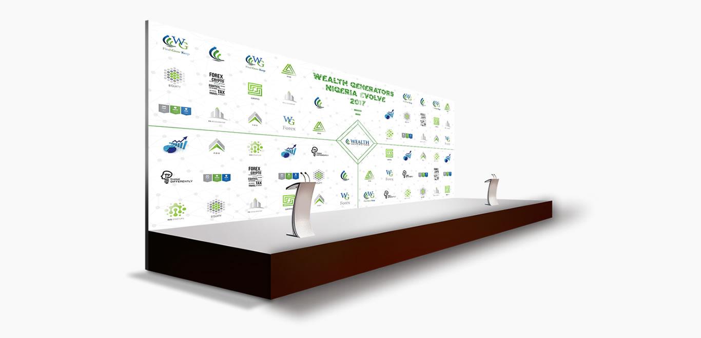 wg evolve event backdrop print design