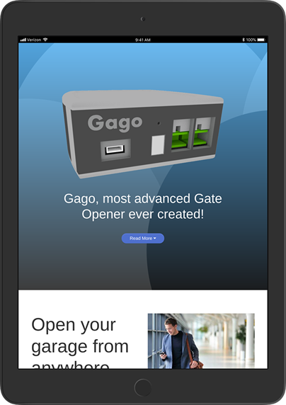 gategoing website ipad preview