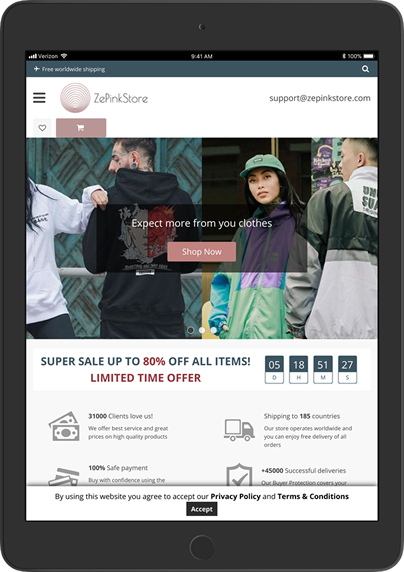 Zepink Store website ipad preview