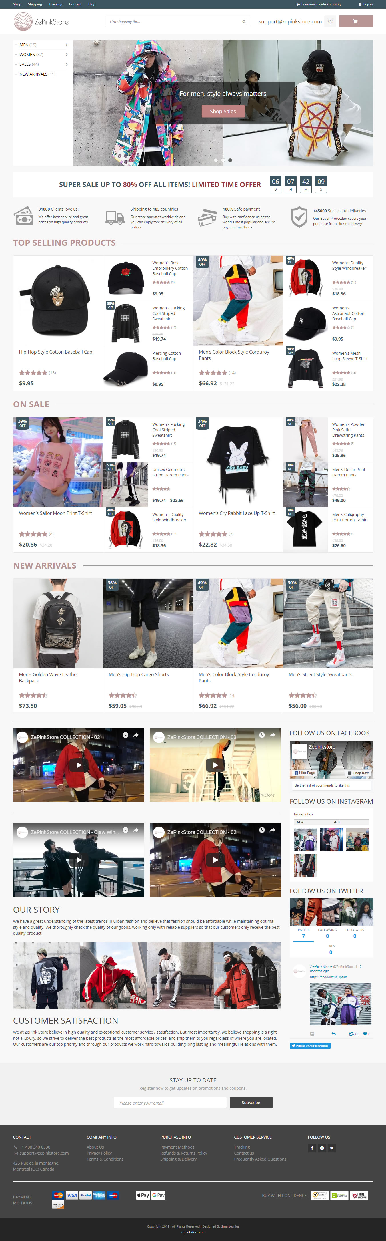 Zepink Store Website Home Page Full View