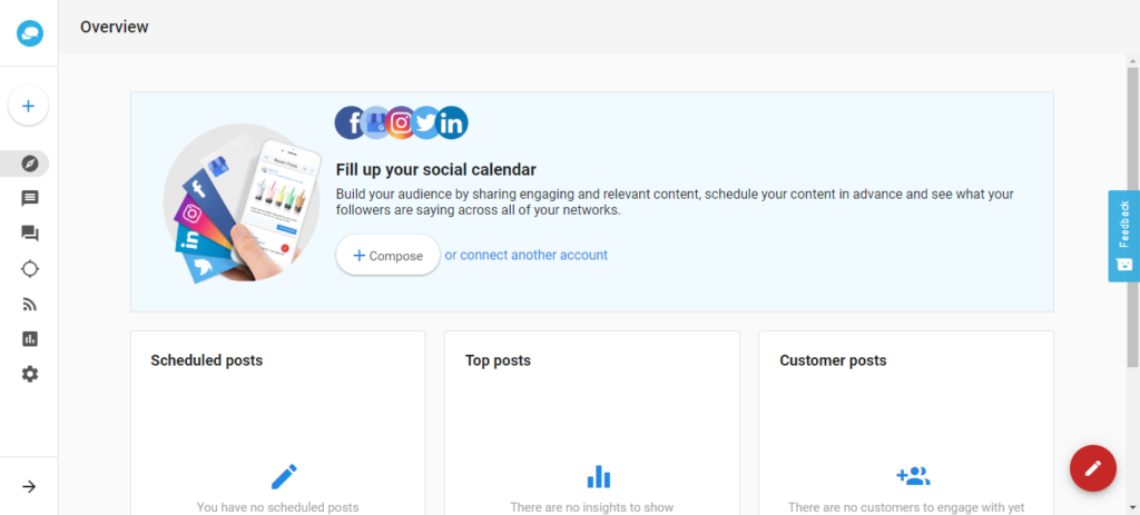 Social Manager Overview Dashboard