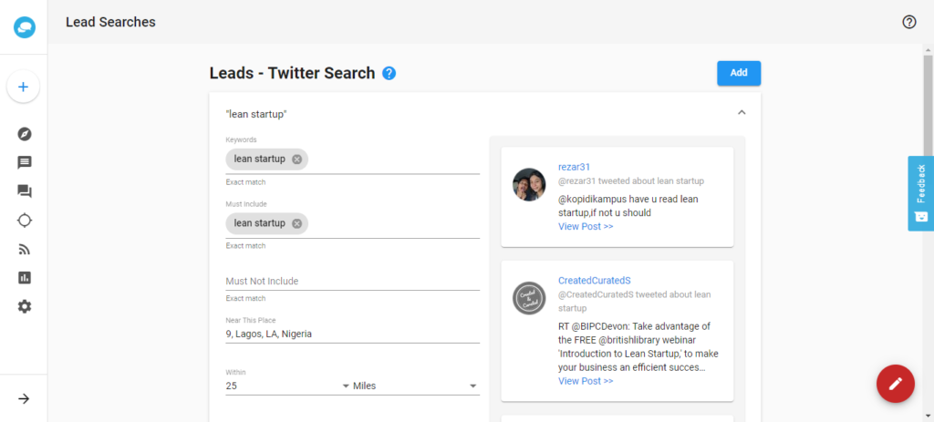 social manager twitter leads dashboard
