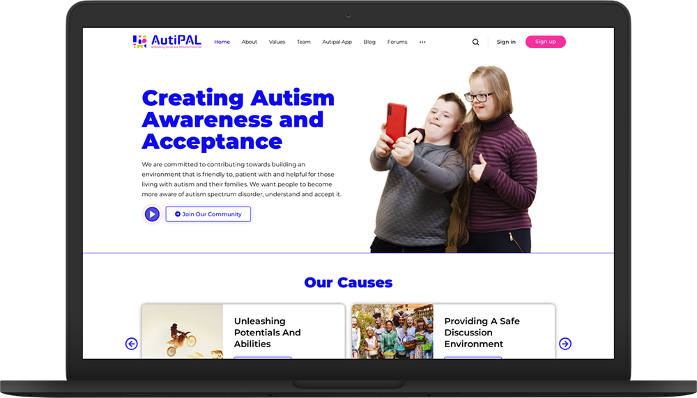 autipal website macbook preview