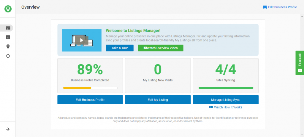 Listings manager overview dashboard