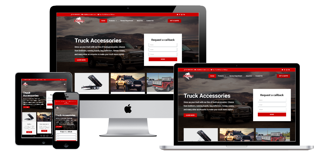 fabins trailers and accessories website live preview
