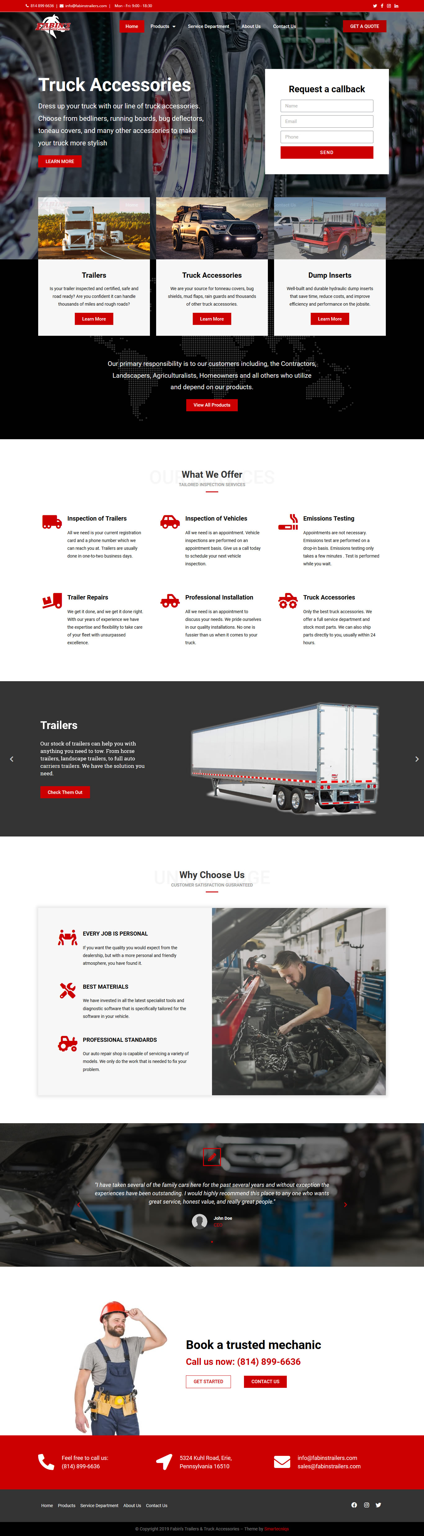 Fabins Trailers New Website Home Page