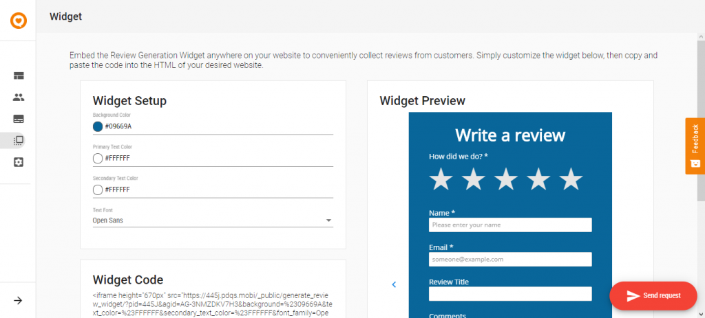 feedback manager review widget